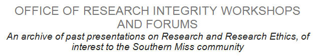 Office of Research Integrity Workshops and Forums