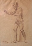Male Nude in the Pose of a Wrestler by Muller