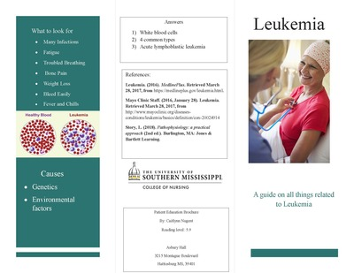 """University Of Southern Mississippi >> """"Leukemia: A guide on all things related to Leukemia"""" by Caitlynn Nugent"""